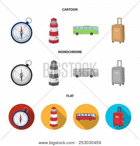 Vacation, Travel, Lighthouse, Compass .rest And Travel Set Collection Icons In Cartoon, Flat, Monoch
