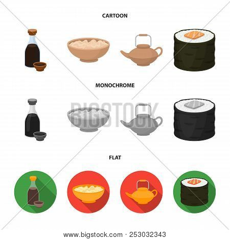 Soy Sauce, Noodles, Kettle.rolls.sushi Set Collection Icons In Cartoon, Flat, Monochrome Style Vecto