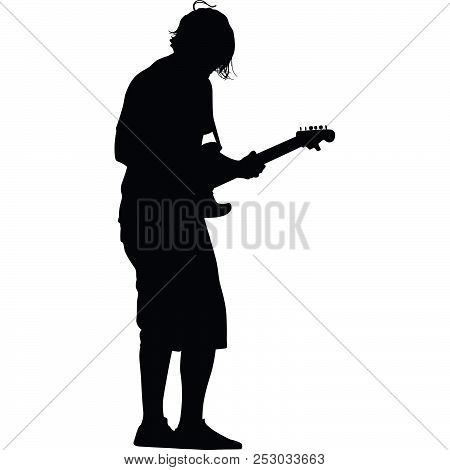 Man As A Guitarist Black Silhouette Vector
