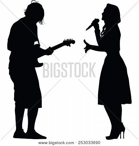 Woman As A Singer And Man Guitarist