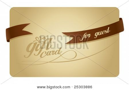Gold Gift card for guest with ribbon.