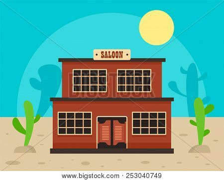 Desert saloon concept background. Flat illustration of desert saloon concept background for web design poster