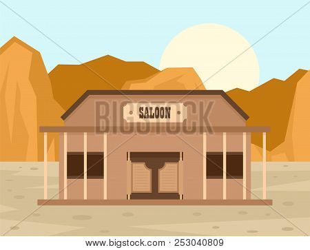 Texas saloon concept background. Flat illustration of texas saloon concept background for web design poster