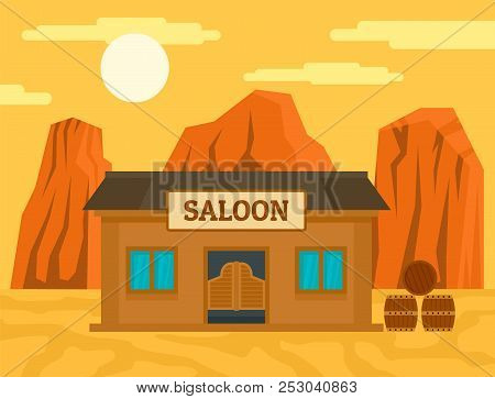 American western saloon concept background. Flat illustration of american western saloon concept background for web design poster