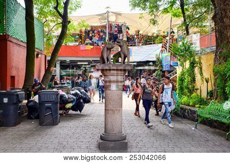 MEXICO CITY,MEXICO - DECEMBER JULY 13,2018 : Traditional handicrafts at Coyoacan in Mexico City