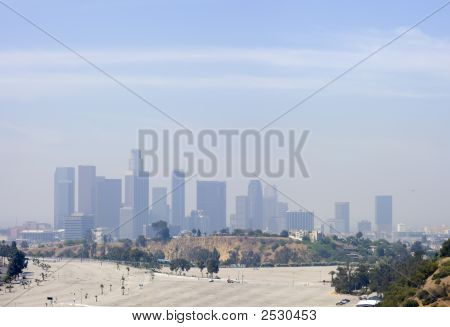 Los Angeles Downtown Air Pollution Skyline Panoramic