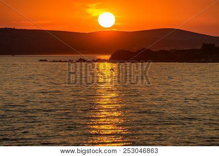Sunset On The Adriatic Sea At Vir Island In Croatia, Europe.