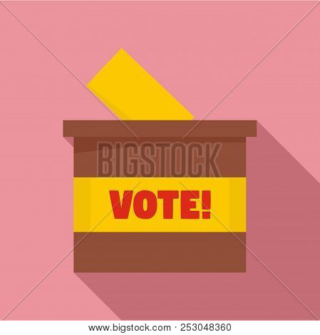 Wood Vote Box Icon. Flat Illustration Of Wood Vote Box Icon For Web Design