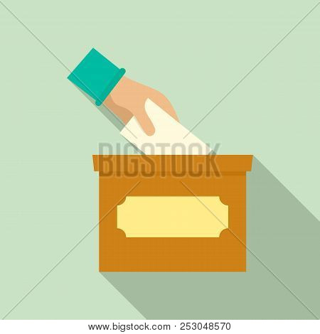 Hand Put In Election Box Icon. Flat Illustration Of Hand Put In Election Box Icon For Web Design
