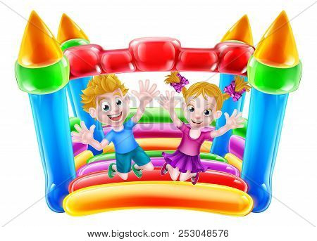 Cartoon Boy And Girl Jumping On A Bouncy Castle