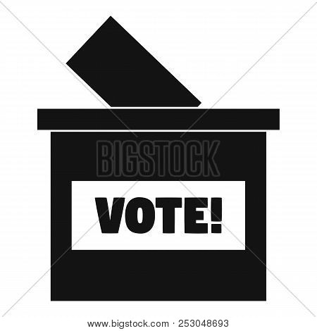 Wood Vote Box Icon. Simple Illustration Of Wood Vote Box Icon For Web Design Isolated On White Backg