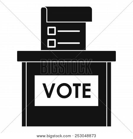 Vote Election Box Icon. Simple Illustration Of Vote Election Box Icon For Web Design Isolated On Whi