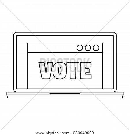 Online Vote Icon. Outline Online Vote Icon For Web Design Isolated On White Background