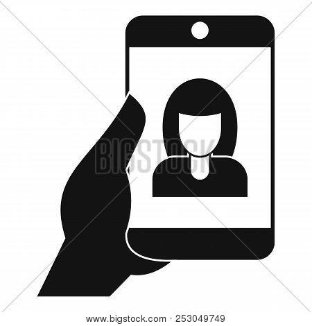 Woman Take Selfie Smartphone Icon. Simple Illustration Of Woman Take Selfie Smartphone Icon For Web