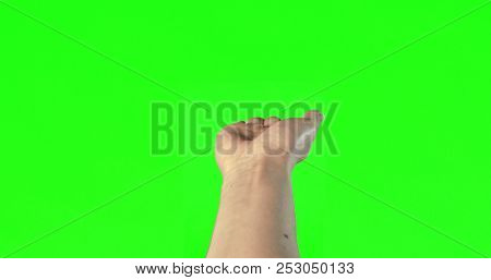 Female hand gestures on green screen: open hand