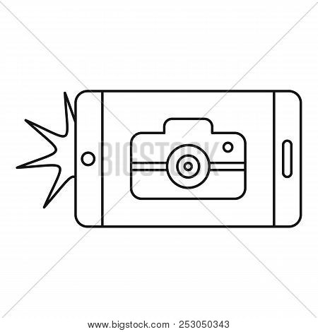 Smartphone Take Photo Icon. Outline Smartphone Take Photo Icon For Web Design Isolated On White Back