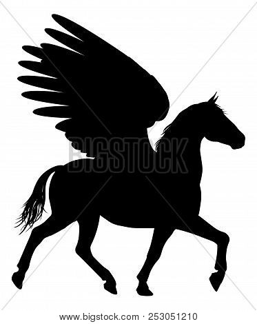 Pegasus Mythical Winged Horse In Silhouette Graphic