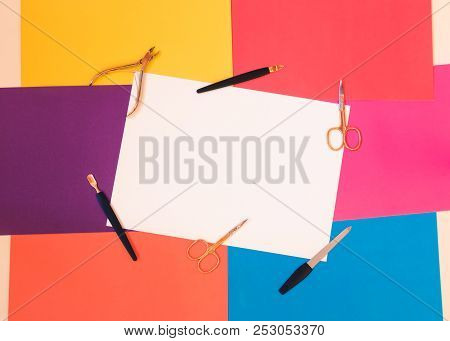 Manicure Or Pedicure Equipment On Colorful Background. Top View With Copy Space.