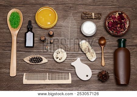 Spa Products And Accessories Flat Lay Set On Wooden Background. Natural Skincare And Hair Care Cosme
