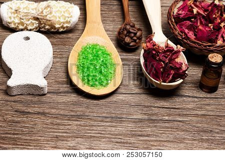 Cellulite Treatment And Peeling Products On Wood Background, Copy Space