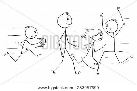 Cartoon Stick Drawing Conceptual Illustration Of Confident Man Or Businessman Walking Slowly And Cal