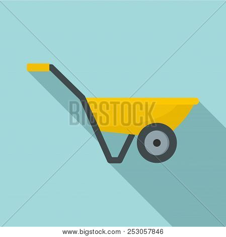 Hand Truck With One Wheel Icon. Flat Illustration Of Hand Truck With One Wheel Icon For Web Design
