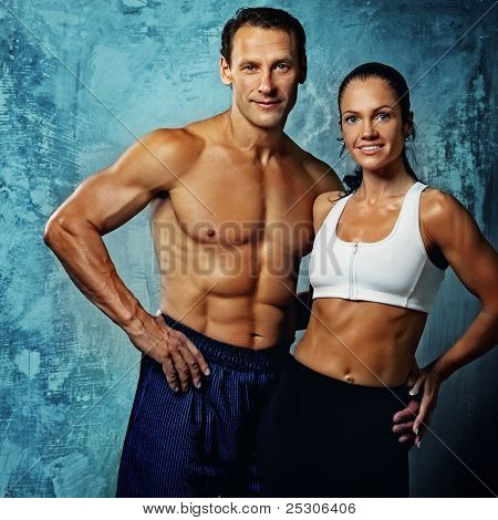 Beautiful athletic couple. poster