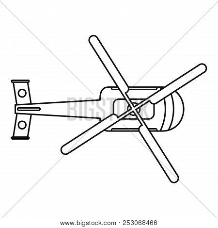 Top View Helicopter Icon. Outline Top View Helicopter Icon For Web Design Isolated On White Backgrou