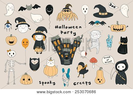 Big Set Of Kawaii Funny Halloween Elements, Characters, With Text, Haunted House, Pumpkins, Ghosts,