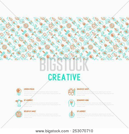 Creative Concept With Thin Line Icons: Generation Of Idea, Start Up, Brief, Brainstorming, Puzzle, C