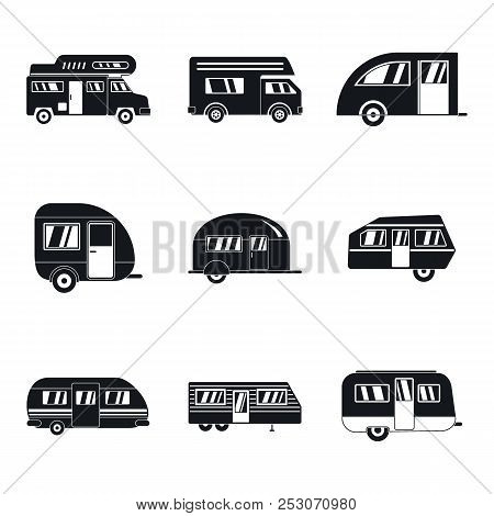 Motorhome car trailer camp house icons set. Simple illustration of 9 motorhome car trailer camp house icons for web poster