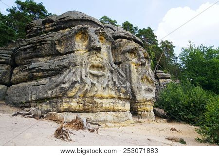 Sandstone Rock Sculptures Devils Heads Near Zelizy, Czech Republic