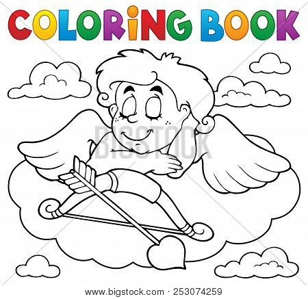 Coloring Book Cupid Topic 7 - Eps10 Vector Picture Illustration.