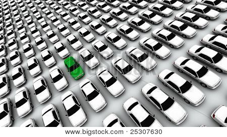 Hundreds Of Cars, One Green!