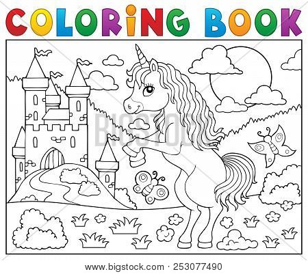 Coloring Book Standing Unicorn Theme 2 - Eps10 Vector Picture Illustration.