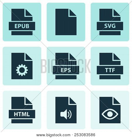 File Icons Set With Epub, Paper, Folio And Other Eps Elements. Isolated Vector Illustration File Ico