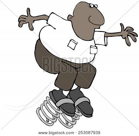 Illustration Of A Black Man Bouncing On Large Springs To Illustrate Springing Forward For Daylight S