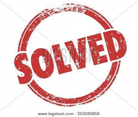 Solved Solution Solving Problem Word Stamp Illustration