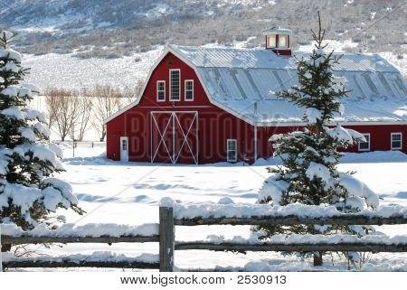 Red Winter Barn