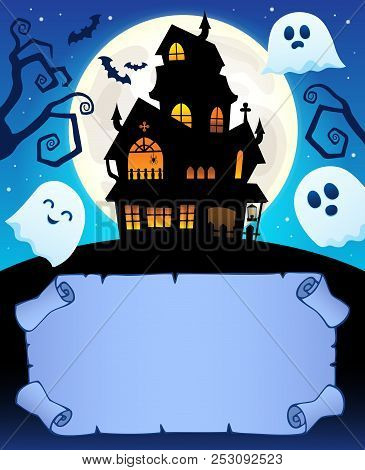 Small Parchment And Haunted Mansion 1 - Eps10 Vector Picture Illustration.