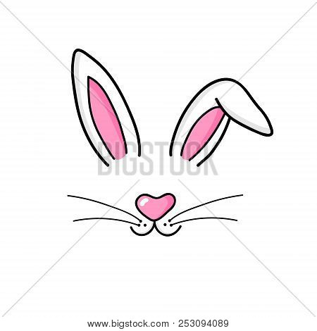Cute Easter Bunny Vector Illustration, Hand Drawn Face Of Bunny. Ears And Tiny Muzzle With Whiskers.