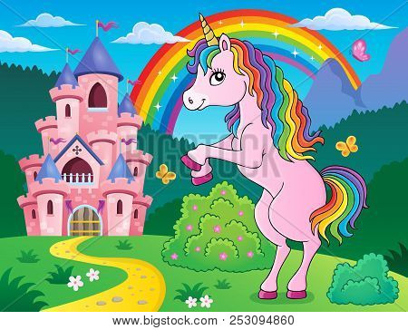 Standing Unicorn Theme Image 3 - Eps10 Vector Picture Illustration.