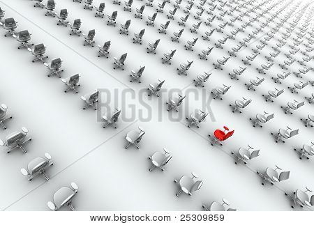 Hundreds Of Office Chairs, One Red!
