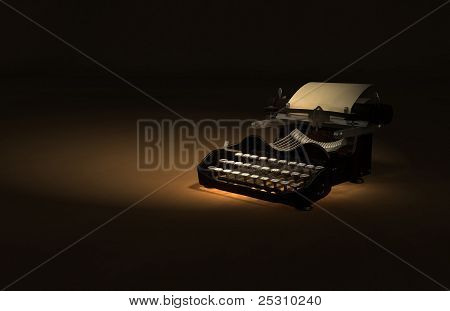 Antique Typewriter 3D Illustration