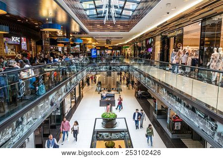 Berlin - April 28, 2018: Interior View Of The New Mall Of Berlin Shopping Centre At Leipziger Platz.