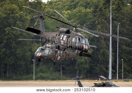 Eindhoven, The Netherlands - Jun 22, 2018: United States Army Sikorsky Uh-60 Blackhawk Transport Hel