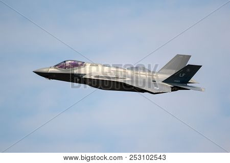Fairford, Uk - Jul 13, 2018: Us Air Force F-35 Fighter Jet Full Afterburner Take Off From Raf Fairfo