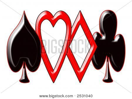 Spade, Hearts,Diamond And Club Card Suits.