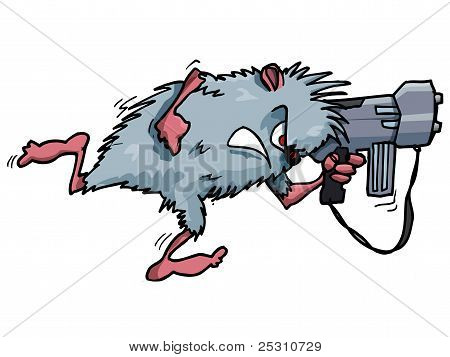 Cartoon rodent with a big gun. Isolated on white poster