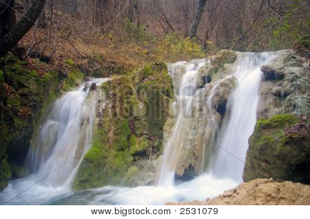 Peaceful Calm And Quiet Waterfall In Balkan Forest